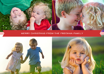 Four Photos with Red Banner Christmas Photo Card